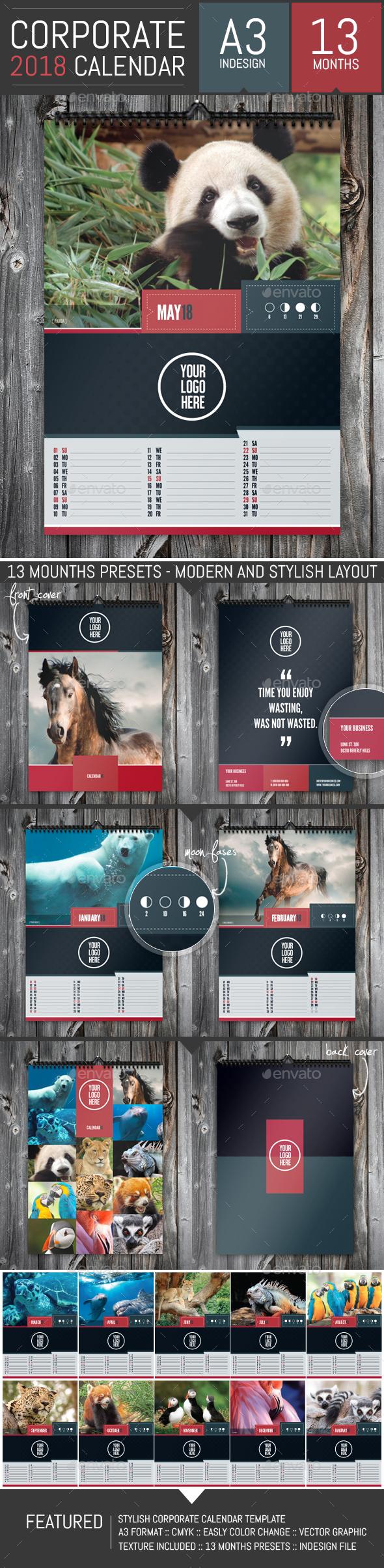 Stylish Corporate 2018 Calendar Template - Calendars Stationery