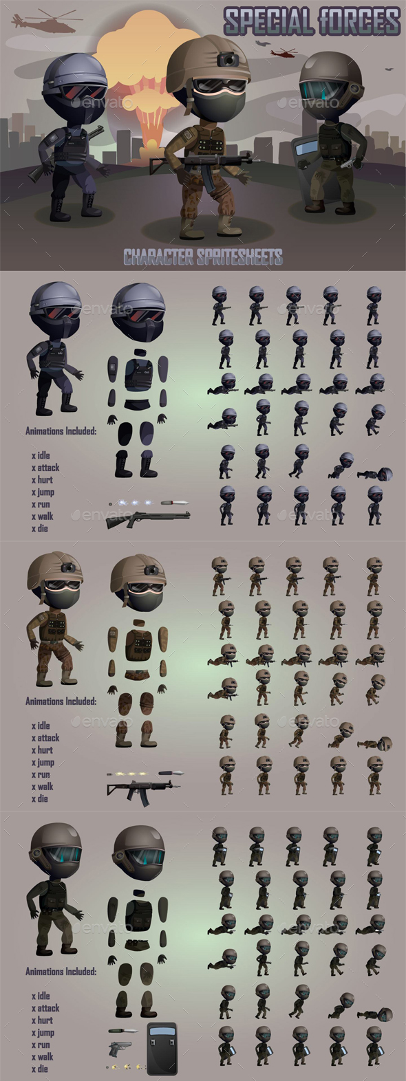 2D Special Forces Character Sprites - Sprites Game Assets