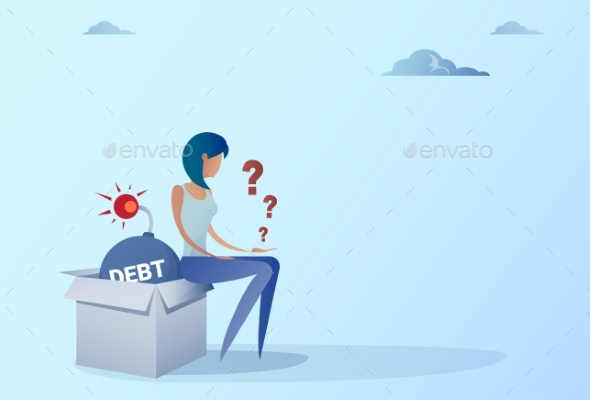 GraphicRiver Business Woman Sitting On Bomb Credit Debt Finance 20487548