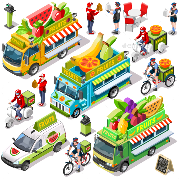 Food Truck Fruit Cart Delivery Vector Isometric Vehicle Pack - Food Objects