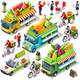 Food Truck Fruit Cart Delivery Vector Isometric Vehicle Pack