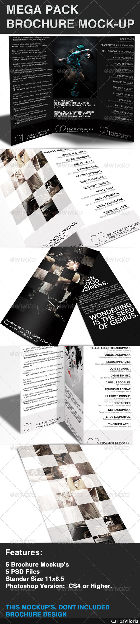 Mega pack Brochure - Mock-Up - Brochures Print
