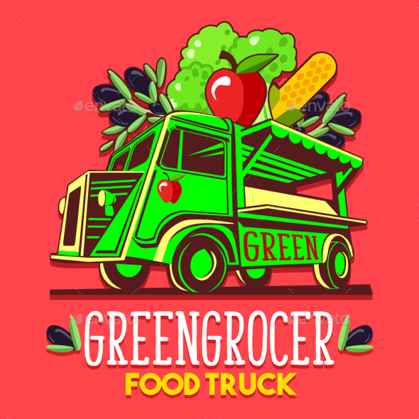 GraphicRiver Food Truck Fruit Seller Greengrocer Stand Fast Delivery Service 20488092