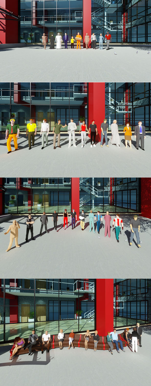44 Low Poly PEOPLE main collection