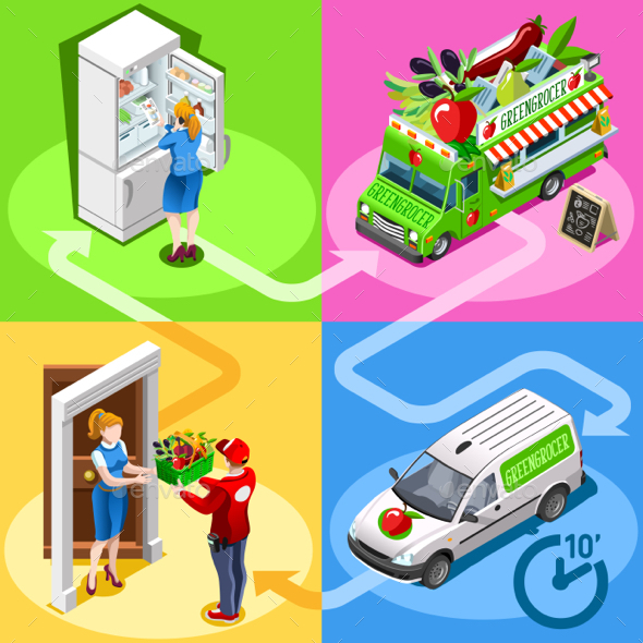 Food Truck Greengrocer Vegetable Home Delivery Vector Isometric - Food Objects