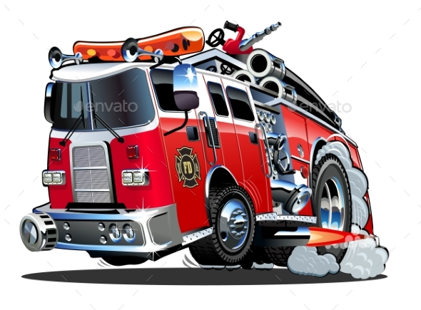 GraphicRiver Vector Cartoon Firetruck 20488150