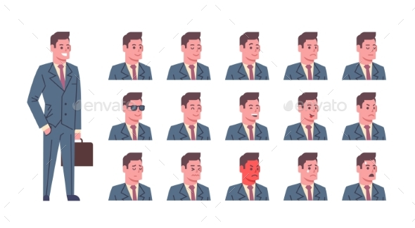 Male Emotion Icons Set - People Characters