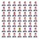 Male Emotion Icons Set Isolated Avatar Man