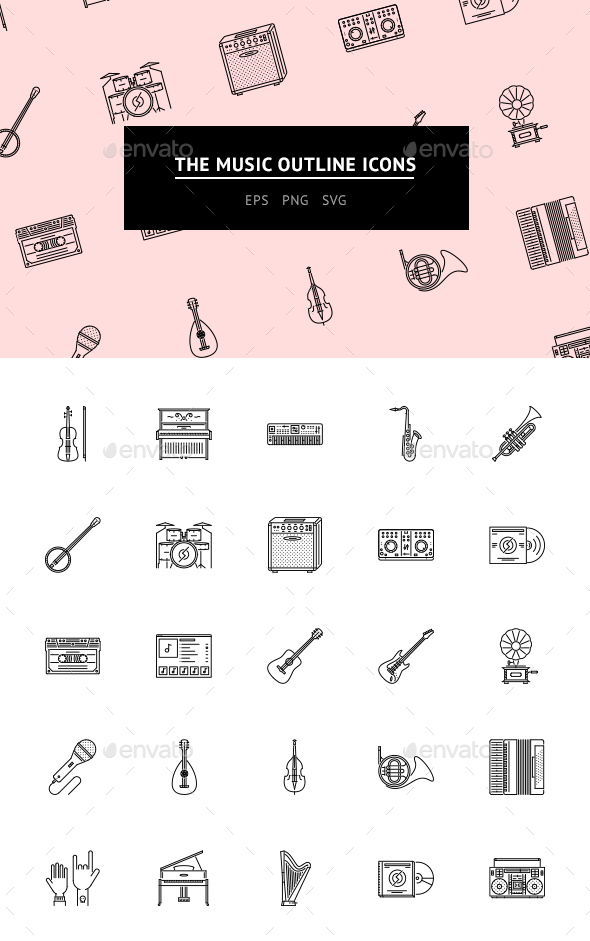 The Music Outline Icons 25 - Web Icons
