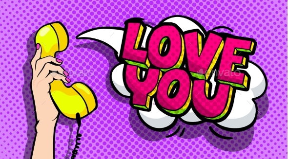 Love You Word Bubble in Pop Art Comics Style - Miscellaneous Vectors