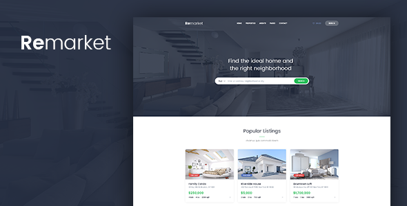 Remarket - Real Estate Template - PSD Templates