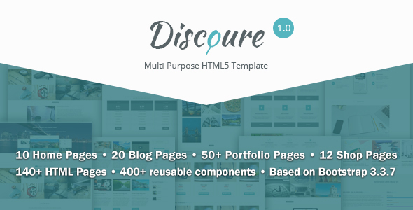 ThemeForest Discoure UI Kit & Responsive Multipurpose HTML5 Template 20370673