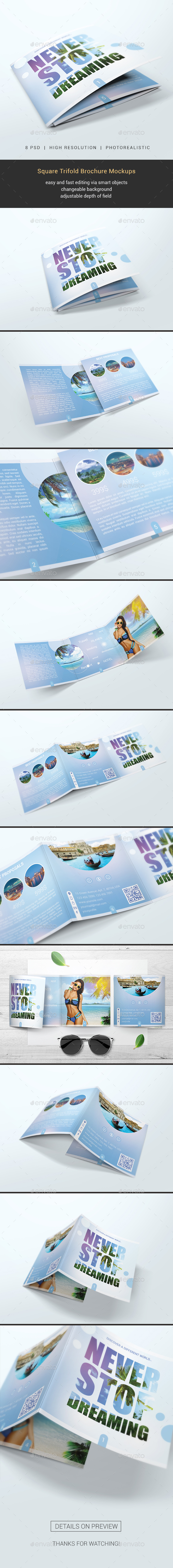 Square Trifold Brochure Mockups