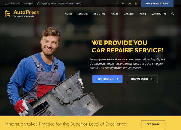 AutoPress - Car Repair & Services WordPress Theme