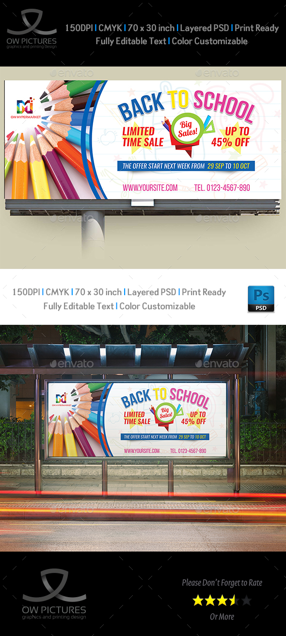 GraphicRiver Back To School Billboard Template 20488883