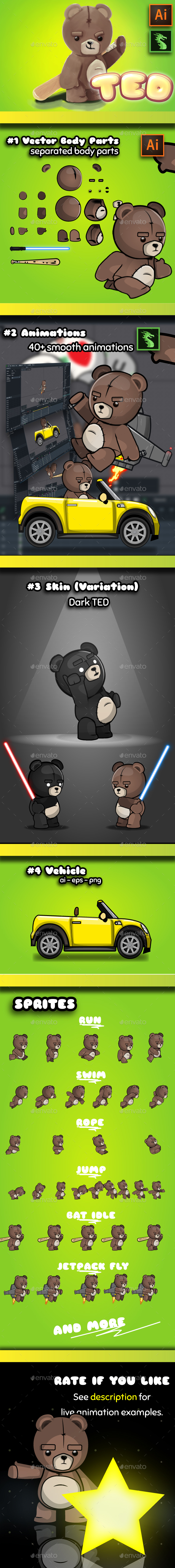 Teddy Bear 2D Game Character Sprites - Sprites Game Assets