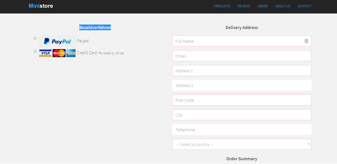 Ministore one page ecommerce HTML/PHP template with Paypal and Stripe