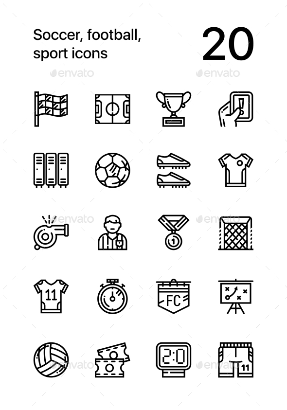 Soccer, Football, Sport Icons for Web and Mobile Design Pack - Icons