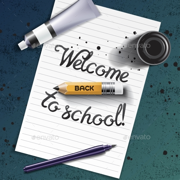 Welcome Back to School Hand Drawn Lettering - Miscellaneous Vectors