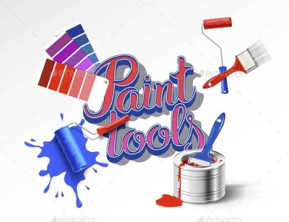GraphicRiver Realistic Set of Paint Tools 20489296