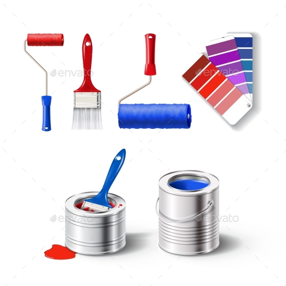Realistic Set of Paint Tools - Man-made Objects Objects