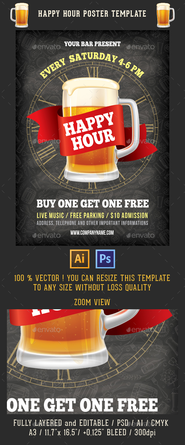 Happy Hour Poster Template - Commerce Flyers