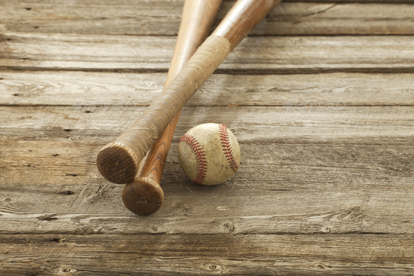 Baseball and Bats on Old Rough Wood - Stock Photo - Images