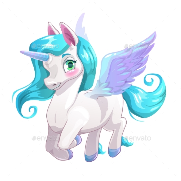 White Cartoon Pegasus - Animals Characters