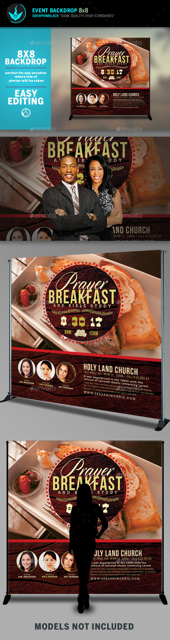GraphicRiver Prayer Breakfast 8x8 Event Backdrop Template 20489832