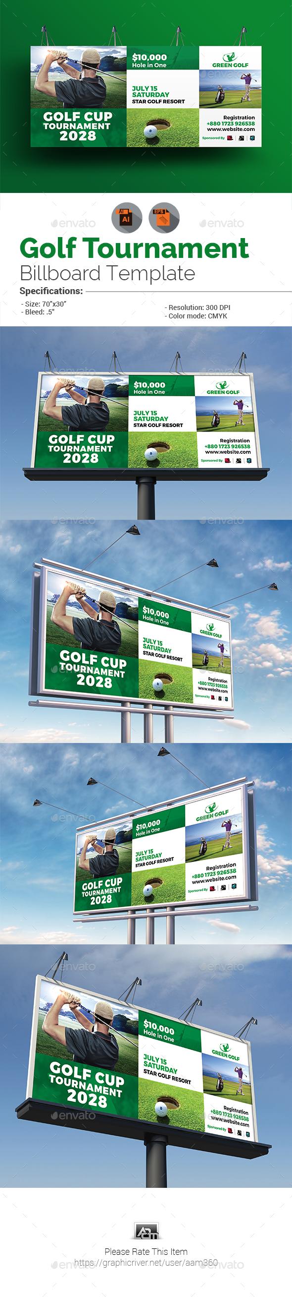 Golf Tournament Billboard Template - Signage Print Templates