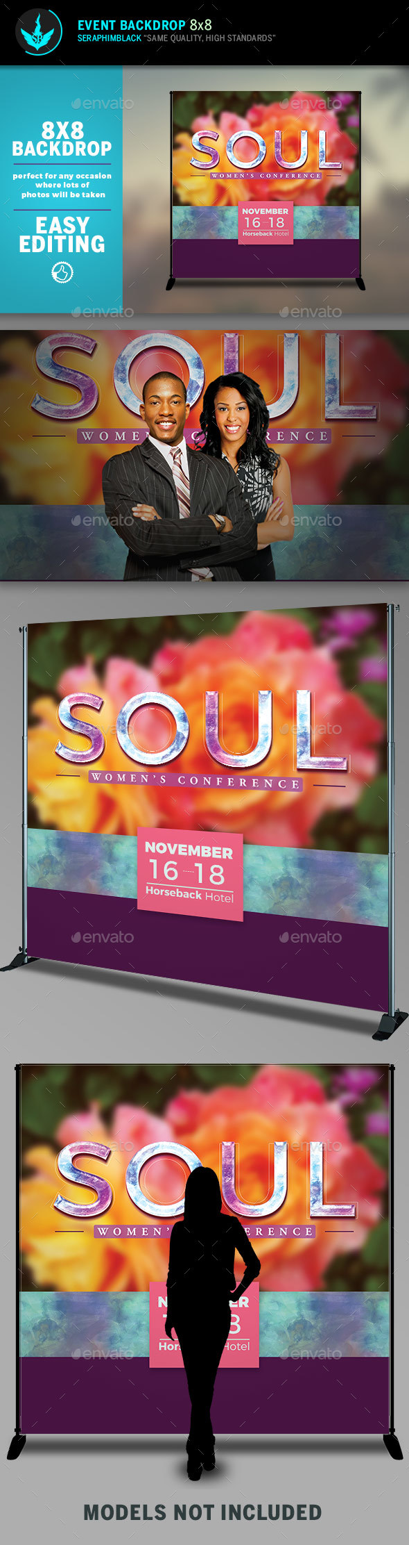 GraphicRiver Soul Floral 8x8 Event Backdrop Template 20490039