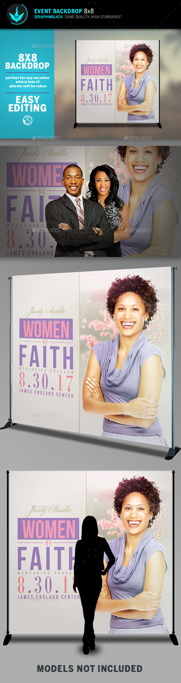 GraphicRiver Women of Faith 8x8 Event Backdrop Template 20490085