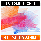 63 Watercolor Stains Paint Splatters Photoshop Brushes Bundle