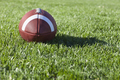 College Style Football on Grass Field in Sunlight