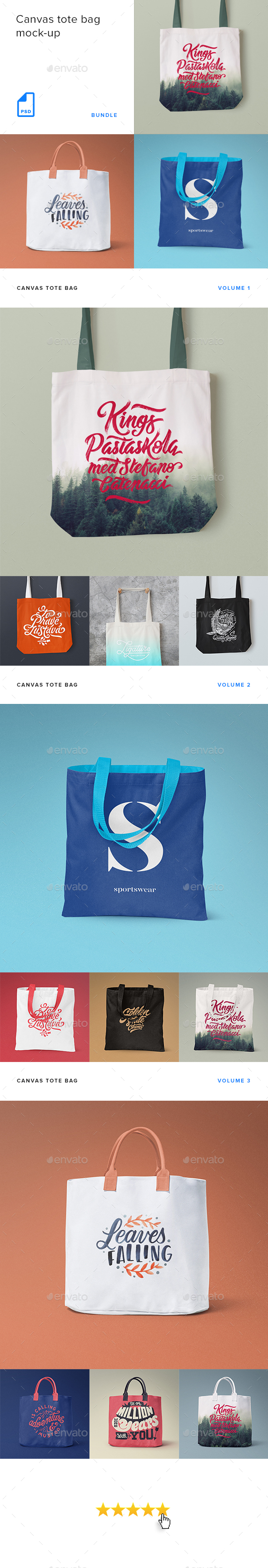 GraphicRiver Canvas Tote Bag Mock-up Bundle 20490585