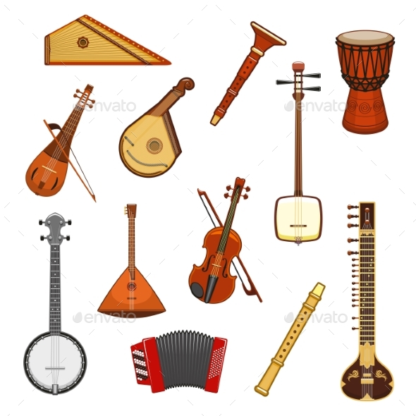 GraphicRiver Classic and Ethnic Music Instrument Icon Set 20490737