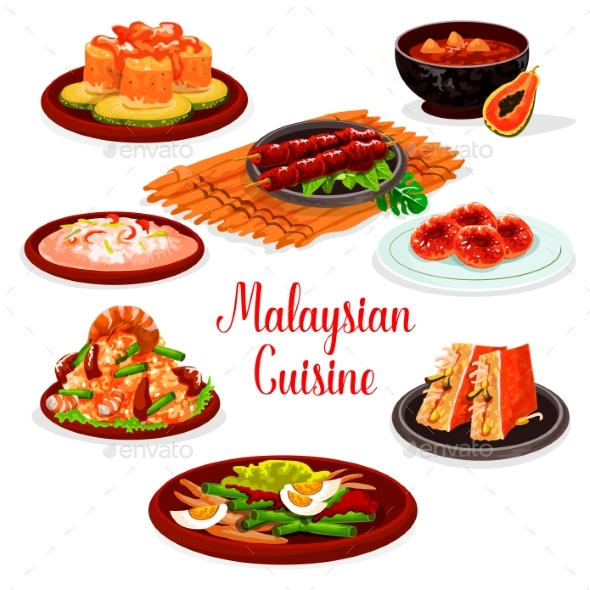 Malaysian Cuisine Restaurant Menu with Asian Food - Food Objects