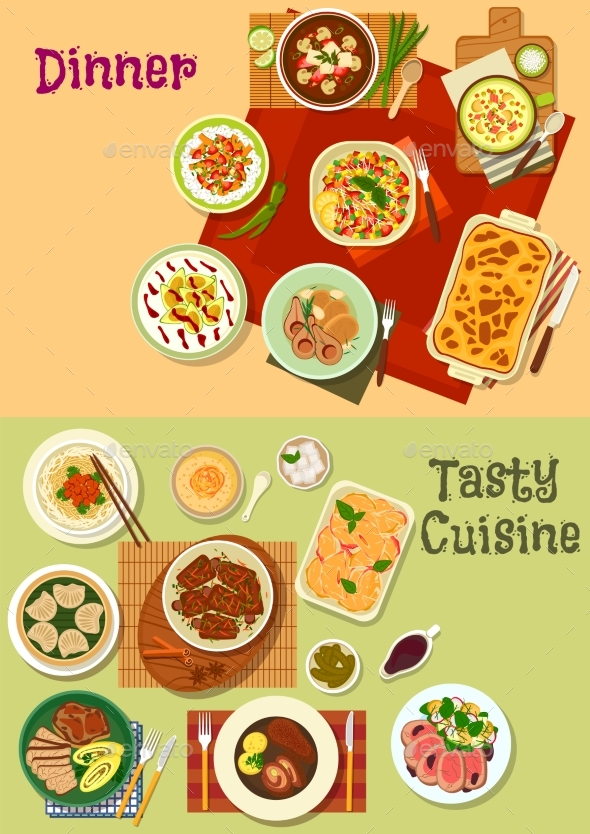 Restaurant Dinner Dishes Icon for Menu Design - Food Objects
