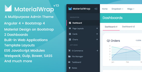 Material Wrap - Angular 4 + Bootstrap 4 Material Design Multipurpose Admin Theme - Admin Templates Site Templates