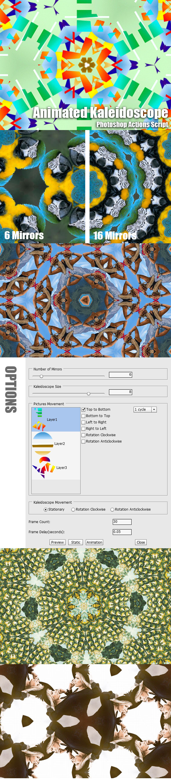 Animated Kaleidoscope Photoshop Add-on - Actions Photoshop