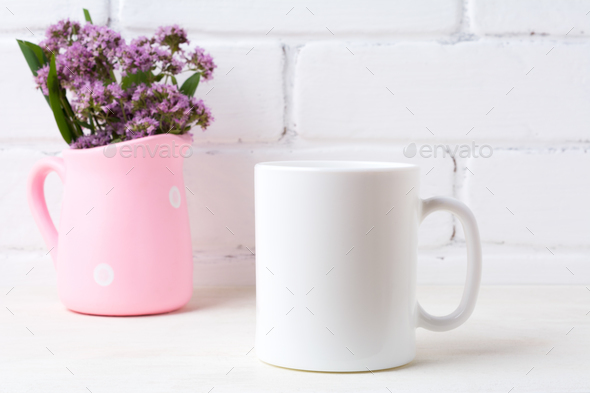 White coffee mug mockup with purple flowers in polka dot pink pi