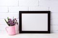 Black brown  landscape frame mockup with purple flowers in pink - PhotoDune Item for Sale