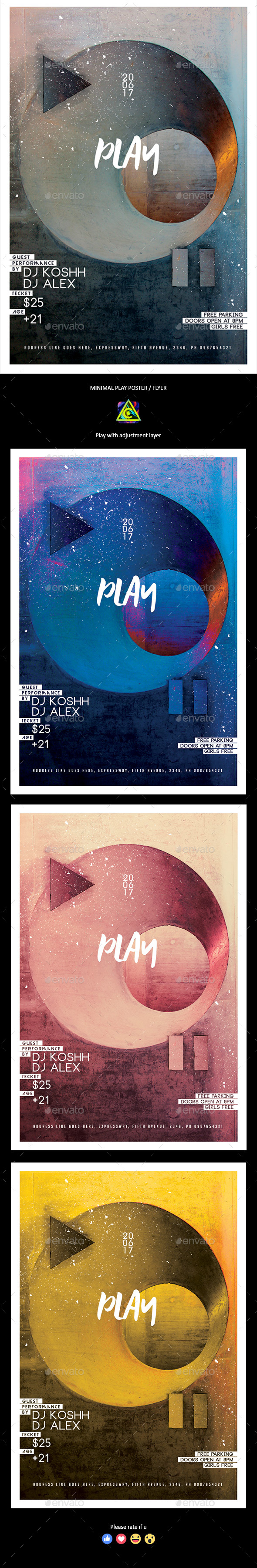 Play Minimal Poster / Flyer - Clubs & Parties Events