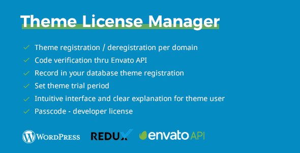 CodeCanyon TLM Theme License Manager Theme Purchase Code Verification Redux Extension for WordPress 20491178