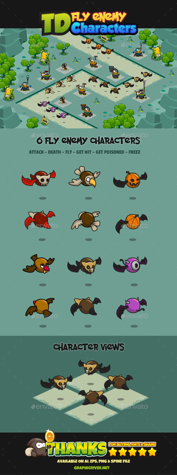 6 Fly Tower Defense Enemy - Sprites Game Assets