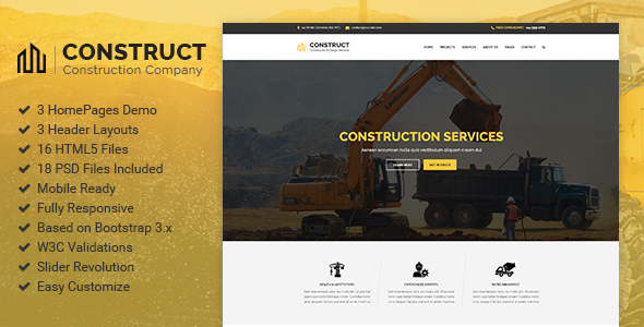 Construct - Construction Company & Building Business HTML5 Template - Business Corporate