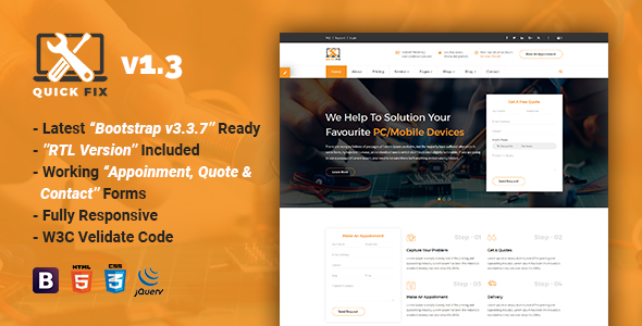 QuickFix | Multipurpose Servicing and Repairing HTML Template - Computer Technology