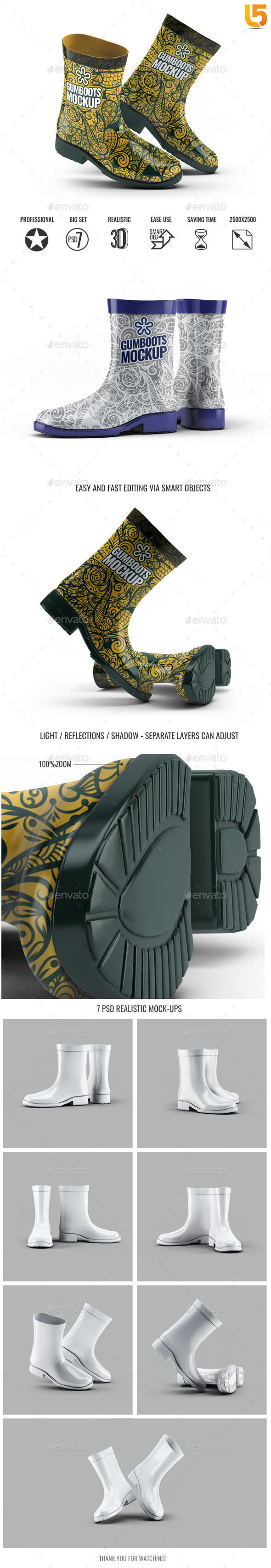 GraphicRiver Short Ankle Gumboots Mock-Up 20491684