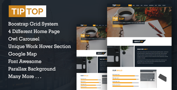 TIPTOP - Multipurpose One Page Template - Corporate Site Templates