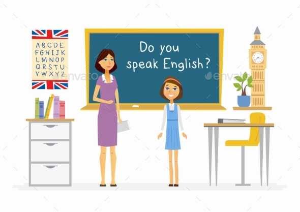 GraphicRiver English Lesson at School Cartoon People 20491825